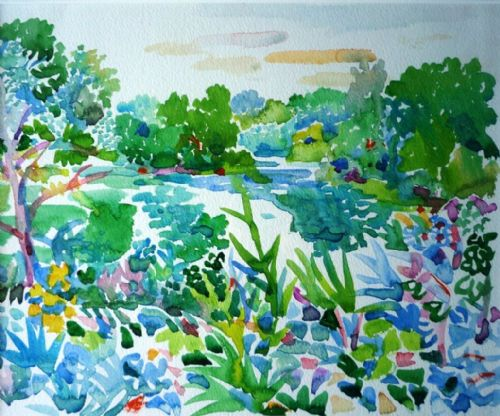Fred Yates River Landscape original watercolour